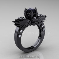 Art Masters Classic Winged Skull 14K Black Gold 2.0 Ct Black Onyx Diamond Solitaire Engagement Ring R613-14KBGDYX-1