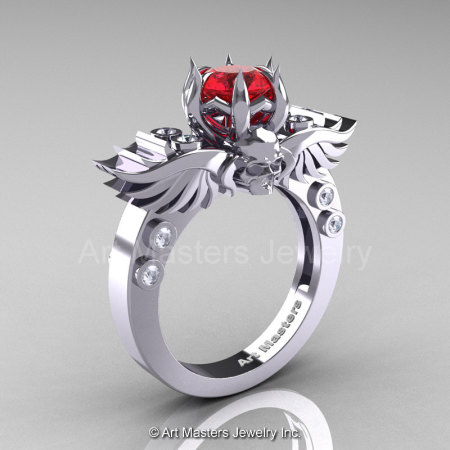 Art Masters Classic Winged Skull 14K White Gold 1.0 Ct Firecracker Ruby Diamond Solitaire Engagement Ring R613-14KWGDR-1