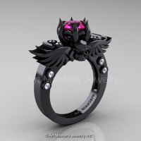 Art Masters Classic Winged Skull 14K Black Gold 1.0 Ct Pink Sapphire Diamond Solitaire Engagement Ring R613-14KBGDPS-1