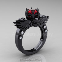 Art Masters Classic Winged Skull 14K Black Gold 1.0 Ct Ruby Diamond Solitaire Engagement Ring R613-14KBGDR-1
