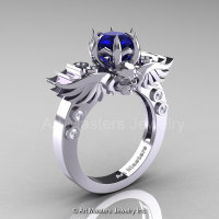 Art Masters Classic Winged Skull 14K White Gold 1.0 Ct Royal Blue Sapphire Diamond Solitaire Engagement Ring R613-14KWGDBS-1