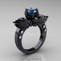 Art Masters Classic Winged Skull 14K Black Gold 1.0 Ct Blue Topaz Diamond Solitaire Engagement Ring R613-14KBGDBT-1