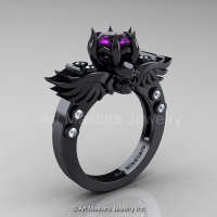 Art Masters Classic Winged Skull 14K Black Gold 1.0 Ct Amethyst Diamond Solitaire Engagement Ring R613-14KBGDAM-1