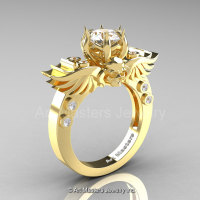Art Masters Classic Winged Skull 14K Yellow Gold 1.0 Ct White Sapphire Diamond Solitaire Engagement Ring R613-14KYGDWS-1