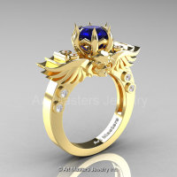 Art Masters Classic Winged Skull 14K Yellow Gold 1.0 Ct Royal Blue Sapphire Diamond Solitaire Engagement Ring R613-14KYGDRBS-1