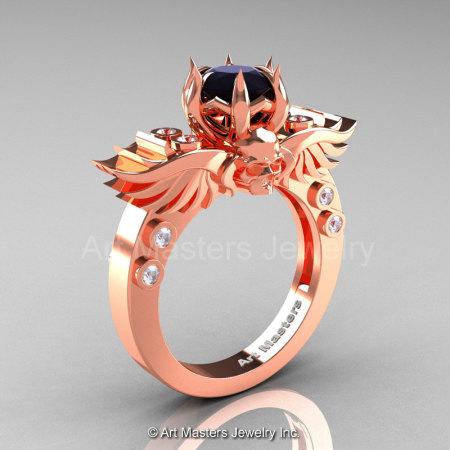 Art Masters Classic Winged Skull 14K Rose Gold 1.0 Ct Black White Diamond Solitaire Engagement Ring R613-14KRGDBD-1