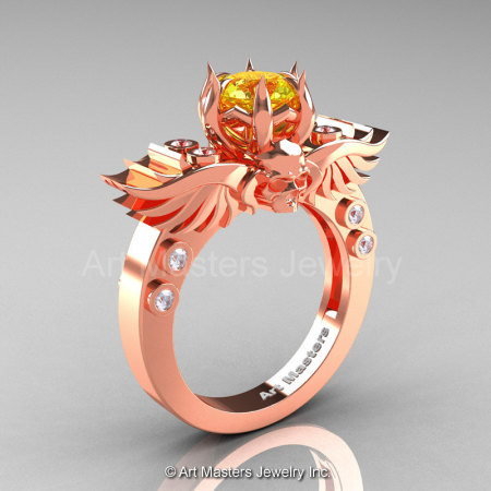 Art Masters Classic Winged Skull 14K Rose Gold 1.0 Ct Yellow Sapphire Diamond Solitaire Engagement Ring R613-14KRGDYS-1