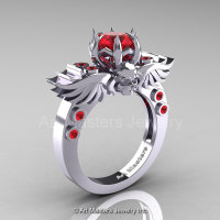 Art Masters Classic Winged Skull 10K White Gold 1.0 Ct Rubies Solitaire Engagement Ring R613-10KWGR-1
