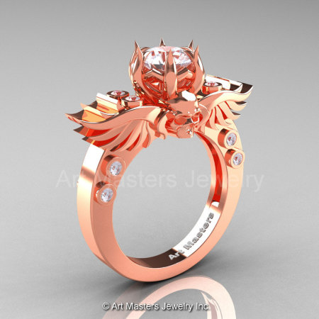 Art Masters Classic Winged Skull 14K Rose Gold 1.0 Ct White Sapphire Diamond Solitaire Engagement Ring R613-14KRGDWS-1