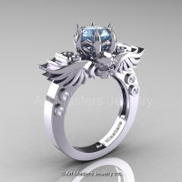 Art Masters Classic Winged Skull 14K White Gold 1.0 Ct Aquamarine Diamond Solitaire Engagement Ring R613-14KWGDAQ-1