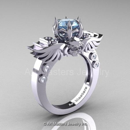 Art Masters Classic Winged Skull 14K White Gold 1.0 Ct Aquamarine Diamond Solitaire Engagement Ring R613-14KWGDAQ-1