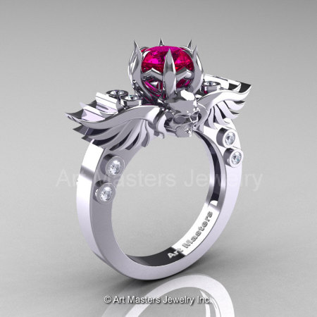 Art Masters Classic Winged Skull 14K White Gold 1.0 Ct Rose Ruby Diamond Solitaire Engagement Ring R613-14KWGDRR-1
