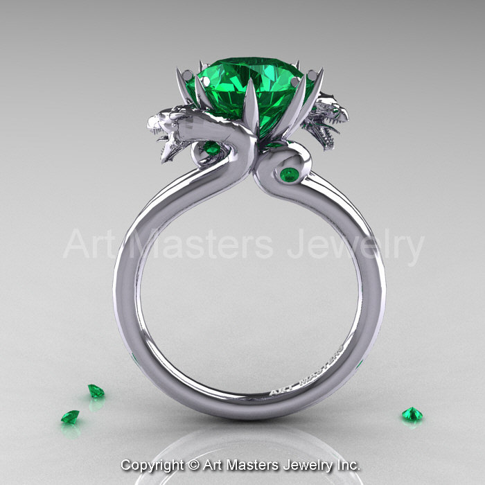 Art Masters Scandinavian 14K White Gold 30 Ct Emerald Dragon