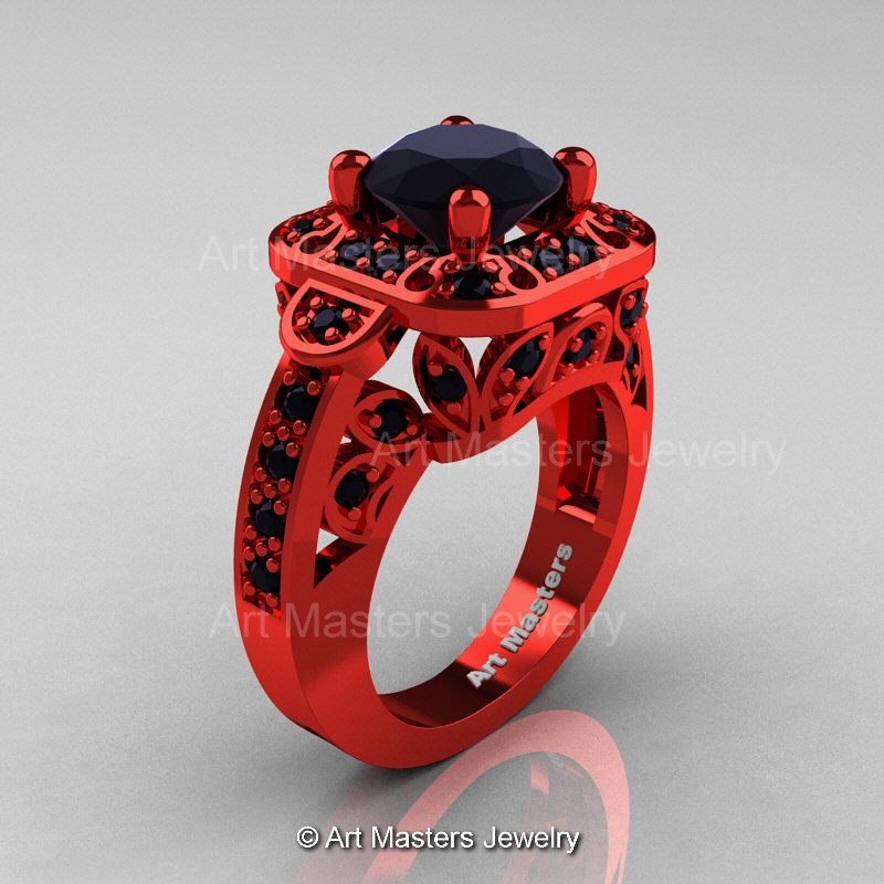 Art Masters Classic 14K Red Gold 20 Ct Black Diamond Engagement