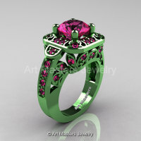 Art Masters Classic 14K Green Gold 2.0 Ct Pink Sapphire Engagement Ring Wedding Ring R298-14KGGPS-1