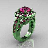 Art Masters Classic 14K Green Gold 2.0 Ct Pink Sapphire Engagement Ring Wedding Ring R298-14KGGPS-1