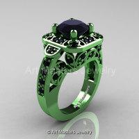 Art Masters Classic 14K Green Gold 2.0 Ct Black Diamond Engagement Ring Wedding Ring R298-14KGGBD-1