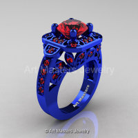 Art Masters Classic 14K Blue Gold 2.0 Ct Rubies Engagement Ring Wedding Ring R298-14KBLGR-1