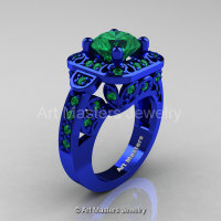 Art Masters Classic 14K Blue Gold 2.0 Ct Emerald Engagement Ring Wedding Ring R298-14KBLGEM-1