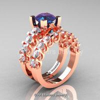Modern Vintage 14K Rose Gold 3.0 Ct Alexandrite White Sapphire Designer Wedding Ring Bridal Set R142S-14KRGWSAL-1