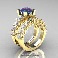 Modern Vintage 14K Yellow Gold 3.0 Ct Alexandrite White Sapphire Designer Wedding Ring Bridal Set R142S-14KYGWSAL-1