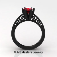 14K Black Gold New Fashion Gorgeous Solitaire 1.0 Carat Ruby Bridal Wedding Ring Engagement Ring R26N-14KBGR-1