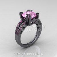 Modern Vintage 14K Gray Gold 3.0 Carat Light Pink Sapphire Solitaire Ring R102-14KGGLPS-1