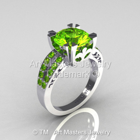 Modern Vintage 10K White Gold 3.0 Carat Green Peridot Solitaire Ring R102-10KWGGPP-1