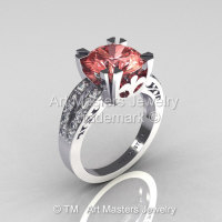 Modern Vintage 18K White Gold 3.0 Carat Morganite Diamond Solitaire Ring R102-18KWGDMO-1