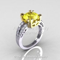 Modern Vintage 14K Two Tone Gold 3.0 Carat Yellow and White Diamond Solitaire Ring R102-14KTTGDYD-1