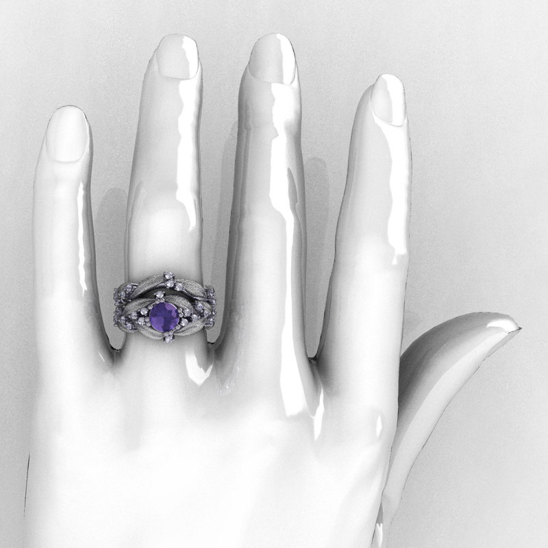 nature classic 14k white gold 10 ct alexandrite diamond leaf and vine engagement ring wedding band - Alexandrite Wedding Ring