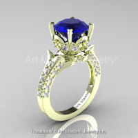 Classic French 14K Green Gold 3.0 Ct Royal Blue Sapphire Diamond Solitaire Wedding Ring R401-14KGRGDBS-1