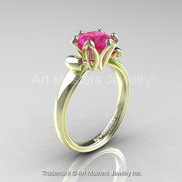 Modern Antique 14K Green Gold 1.5 Carat Pink Sapphire Solitaire Engagement Ring AR127-14KGRGPS-1