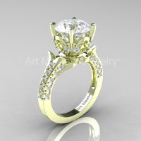Classic French 14K Green Gold 3.0 Ct White Sapphire Diamond Solitaire Wedding Ring R401-14KGRGDWS-1