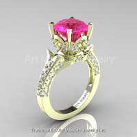 Classic French 14K Green Gold 3.0 Ct Pink Sapphire Diamond Solitaire Wedding Ring R401-14KGRGDPS-1