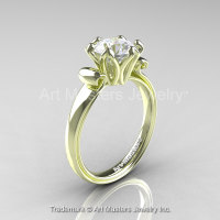 Modern Antique 14K Green Gold 1.5 Carat White Sapphire Solitaire Engagement Ring AR127-14KGRGWS-1