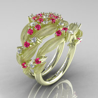 Nature Classic 14K Green Gold Pink and White Sapphire Cluster Leaf and Vine Engagement Ring Wedding Band Set R343SS-14KGRGWSPS-1