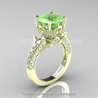 Classic French 14K Green Gold 3.0 Ct Green Topaz Diamond Solitaire Wedding Ring R401-14KGRGDGT-1