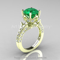 Classic French 14K Green Gold 3.0 Ct Emerald Diamond Solitaire Wedding Ring R401-14KGRGDEM-1