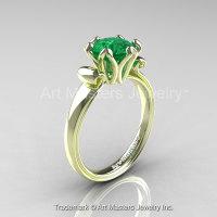 Modern Antique 14K Green Gold 1.5 Carat Emerald Solitaire Engagement Ring AR127-14KGRGEM-1