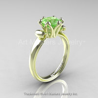 Modern Antique 14K Green Gold 1.5 Carat Green Topaz Solitaire Engagement Ring AR127-14KGRGGT-1