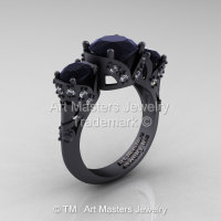 Scandinavian 14K Matte Black Gold 2.0 Ct Black and White Diamond Three Stone Designer Engagement Ring R406-14KMBGDBD-1