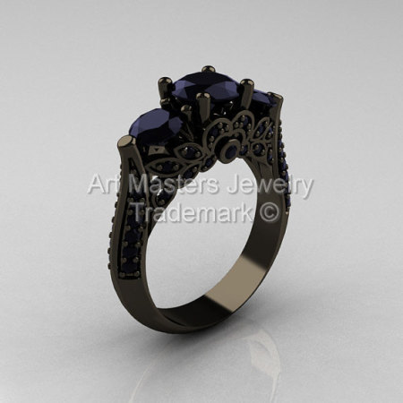 Classic 14K Black Gold Three Stone Black Diamond Solitaire Ring R200-14KBGBD-1