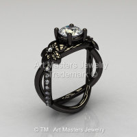 Designer Classic 14K Black Gold 1.0 CT White Sapphire Diamond  Leaf and Vine Wedding Ring Engagement Ring R180-14KBGDWS-1