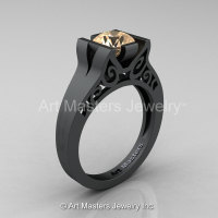 Modern 14K Matte Black Gold 1.0 CT Champagne Diamond Engagement Ring Wedding Ring R36N-14KMBGCHD-1