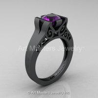 Modern 14K Matte Black Gold 1.0 CT Amethyst Engagement Ring Wedding Ring R36N-14KMBGAM-1