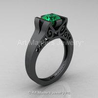 Modern Classic 14K Matte Black Gold 1.0 CT Emerald Engagement Ring Wedding Ring R36N-14KMBGEM-1