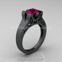 Modern Classic 14K Matte Black Gold 1.0 CT Rose Ruby Engagement Ring Wedding Ring R36N-14KMBGRR-1