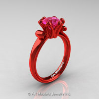 Modern Antique 14K Coral Red Gold 1.5 Carat Pink Sapphire Solitaire Engagement Ring AR127-14KCRGPS-1