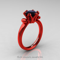 Modern Antique 14K Coral Red Gold 1.5 Carat Black Diamond Solitaire Engagement Ring AR127-14KCRGBD-1
